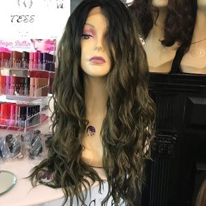 Green olive Lacefront wig Long wavy ombré Wig